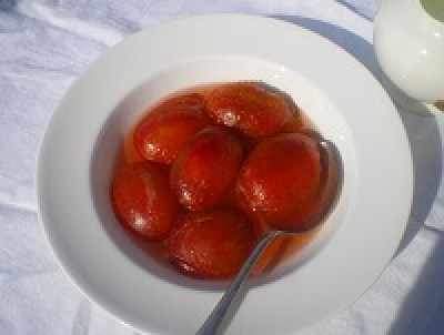 Poached Plums In Amaretto